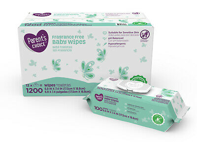 Parent's Choice Fragrance Free Baby Wipes, 12 packs of 100 (1200 count)