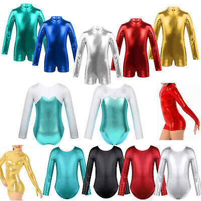 Children Girls Leotard Gymnastic Ballet Dance Long Sleeve Shiny Kids Sports Suit