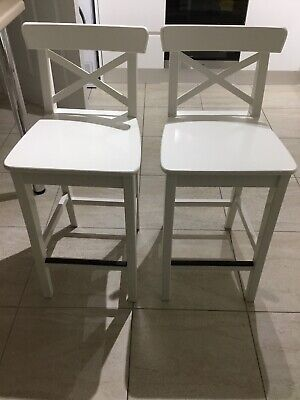 Outstanding Pair Of White Ikea Ingolf Bar Stools Seat Height 63Cm Andrewgaddart Wooden Chair Designs For Living Room Andrewgaddartcom