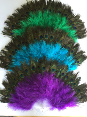 "2 sides Peacock - Marabou Feather Fan 14""x24"" For Dancing,Wedding, Burlesque"