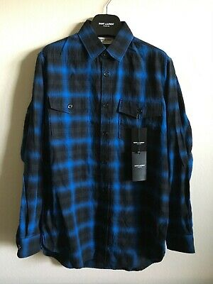 648b386efb8 Saint Laurent Paris Hedi Slimane Blue Shadow Plaid Long Flannel Sz L Large