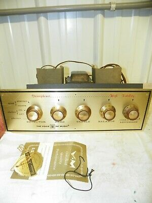 THE VOICE OF MUSIC TUBE STEREO AMPLIFIER & PREAMPLIFIER PRE AMP From Console