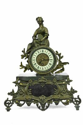 "French Antique Style Bronze Metal Clock w/ Female Figure Ceres Harvest 16.5"" x 1"