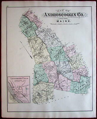 Androscoggin Auburn Lewiston Livermore Falls Maine 1888 Colby detailed map