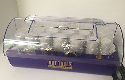 Hot Tools Professional Hair Rollers 20 White Ribbed 1321 Hot Curlers Clip Tested