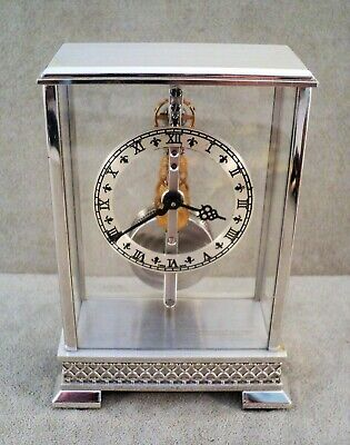 Unique Vtg JAEGER-LECOULTRE Miniature DESK CLOCK 8-Day Skeleton PERFECT -Estate