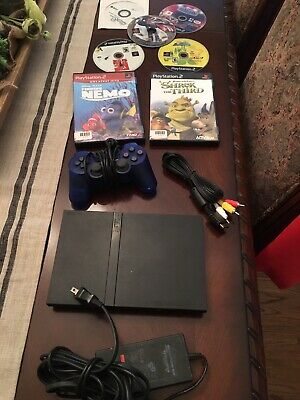Sony Playstation 2 PS2 Slim Charcoal Black Console Bundle SCPH-77001 W/ 7 Games!