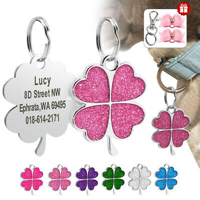 Bling Bling Four Leaf Clover Lucky Flower Personalized Dog ID Tags Free Engraved