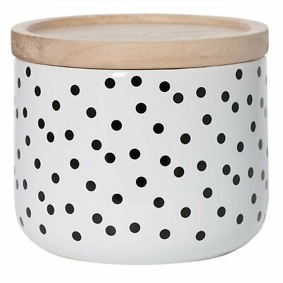 White Canister with black dots set of 4