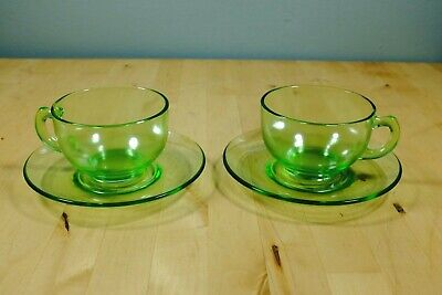 Set of 2 Vintage Green Depression Uranium Glass Coffee Cups and Saucers