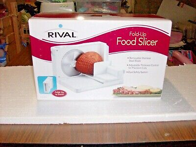Rival Electric Slicer Deli Style Food Meat Model 1042 White Fold Up Easy Storage