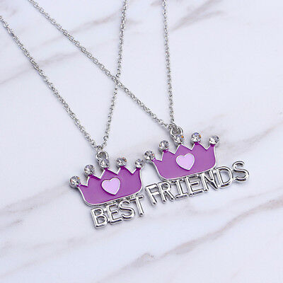 2pcs/Set Rhinestone Crown Best Friends Letter Pendant Necklaces Creative Gift JA