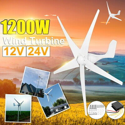 1200W DC12/24V 3/5 Blades Wind Turbines Generator Charge Controller Horizontal