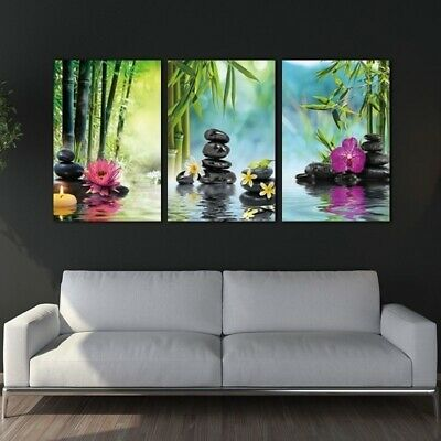 Canvas Painting Print 3 Panels Spa Series Of Stone Flowers Green Bamboo Wall Art