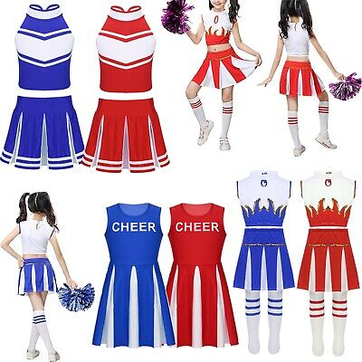 Kids Girls Cheerleader Costume Cheer Leader Outfit Squad Fancy Dress Dance Show