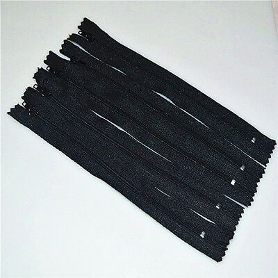 Black 10pcs Nylon Coil Zippers Tailor Sewer Craft 9 Inch Crafter's DIY!