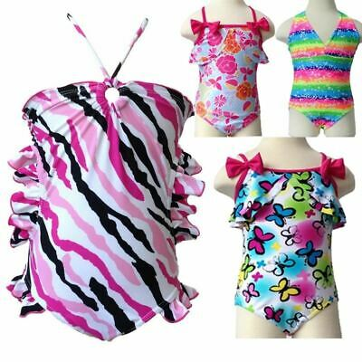 Cute Baby Girl Swimwear One Piece Swimsuit with Flowers Pattern 3-10Y Girls Bath