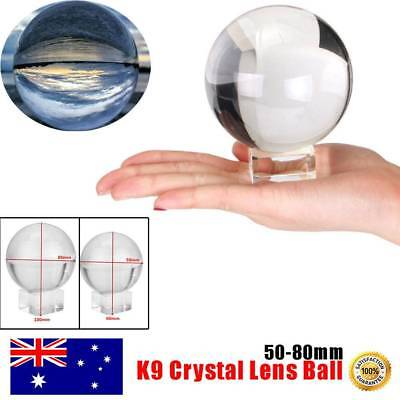 Clear Crystal Ball K9 50-80mm Photography Lens Sphere Ball Decor With Holder b