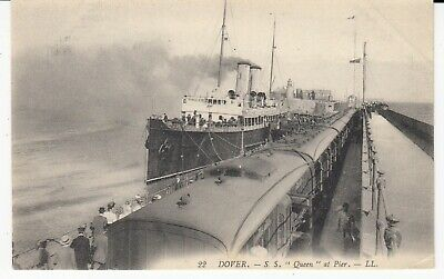 DOVER Train & Steam Ship SS Queen at Pier PPC by LL LEVY #22 French Back Unused