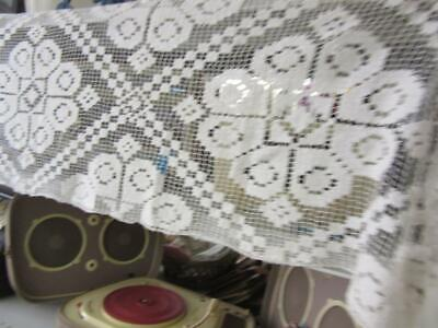 A Gorgeous Antique French  White Filet Lace Pelmet With Lovely Fringes