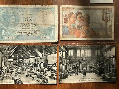 French Banknotes + postcards. 1611