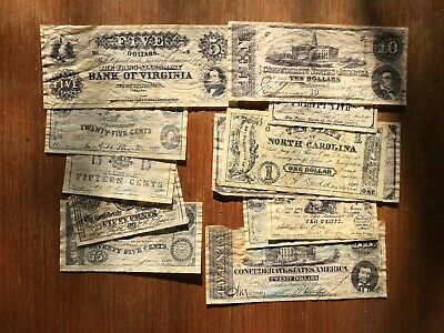 12x USA forged 1860s confederate banknotes. 1614