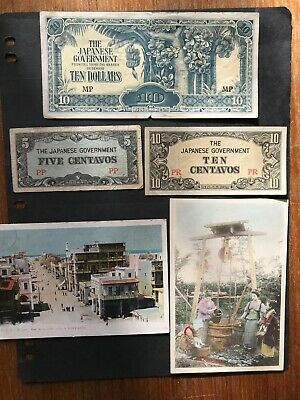 Japanese banknotes to Ten dollars and old postcards. 1631