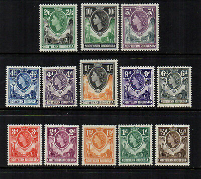 Northern Rhodesia 1953 QE2 to 10/- (13 Stamps) - SG 61 to 73 - Fresh MM
