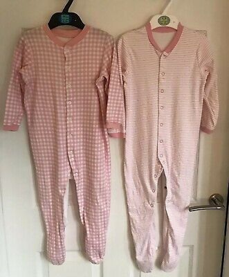 2 X Girls Pink Mix Marks And Spencer One Piece Sleepsuit - Age 18-24 Months