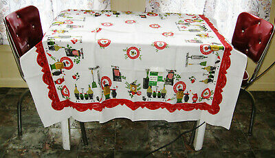 """Vintage New Old Stock With Label Betson's Hand Printed Tablecloth 52"""" X 52"""""""