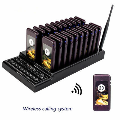 Restaurant Wireless Queuing Chargeable System Transmitter+20 Call Coaster Pagers