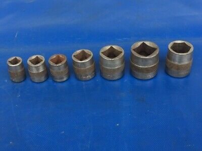 """Vintage Snap On 416 418 420 424 428 432 320 Square Cut Sockets 1/2"""" Drive 1920s"""