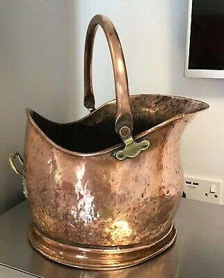 LOVELY AGED PATINA HAMMERED Copper Coal Scuttle HELMET SHAPED