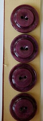 """Vintage Buttons 36 Black Casein 4-hole British flat back raised 5//8/"""" buttons"""