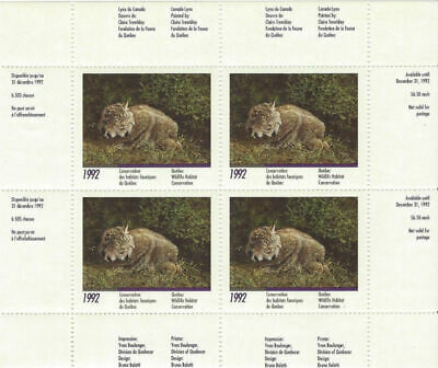 1992 Canada Quebec  Wildlife Habitat Conservation -DQ10 Mint NH 4 stamps only