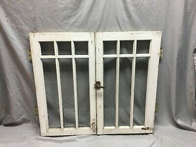 Pair Antique Craftsman 6 Lite Casement Door Windows Cabinet 16x29 Vtg    94-19J