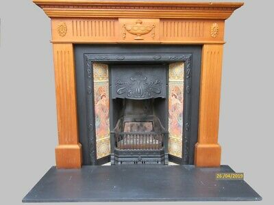 Victorian Style Cast Iron Fireplace with Unusual Elegant Lady Tile Design