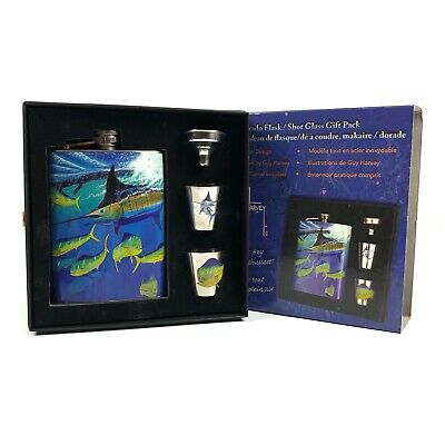 a0a252eff9f GUY HARVEY STAINLESS Steel Flask Shot Glass Gift Set pack marlin ...