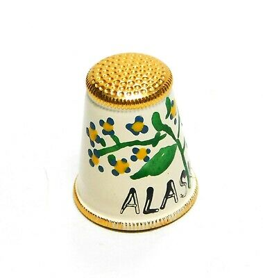 Hand Painted Enamel Over Brass Alaska Thimble With Yellow Flowers