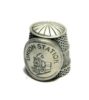 Heavy Etched Union Station Pewter Thimble With Steam Engine Train