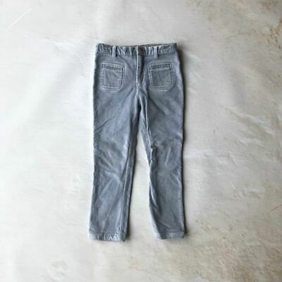The Little White Company girls blue grey velvet cotton skinny trousers 5 - 6 yea