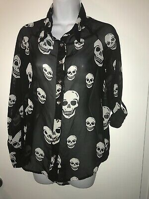 Haley Starr Women's Blouse Skull Print Black  Sheer Hi-Low Goth Style Top SMALL