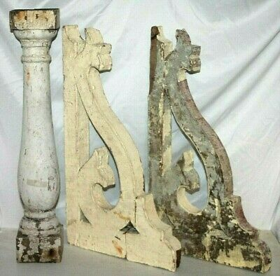 Antique Pair Of 19Th C Victorian Architectural Wood Corbels W/ 1 Column. Salvage