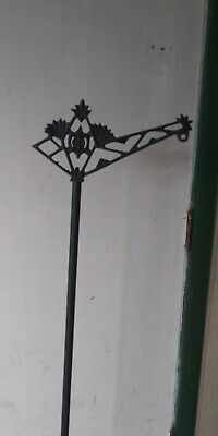 """Vintage 56"""" Cast Iron Victorian/Art Deco Floor Lamp With Footed Base"""