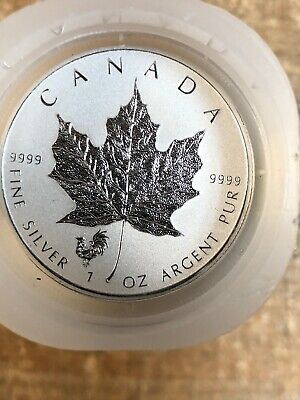 2017 $5 Silver Canadian Maple Leaf Rooster Privy 1 oz-Roll Of 25