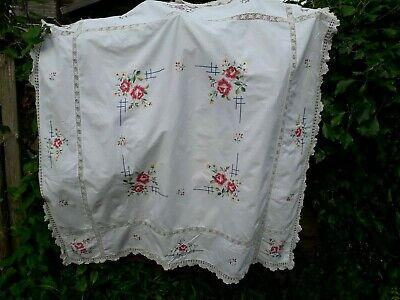 "VINTAGE TABLECLOTH ROSES CROSS STITCH HAND EMBROIDERY COTTON CROCHET 52"" english"