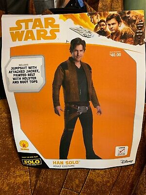 Mens Star Wars HAN SOLO Adult Halloween Costume SIZE LARGE NEW