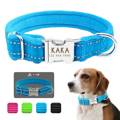 Plush Padded Personalised Dog Collars Safety Reflective Heavy Duty Buckle S M L