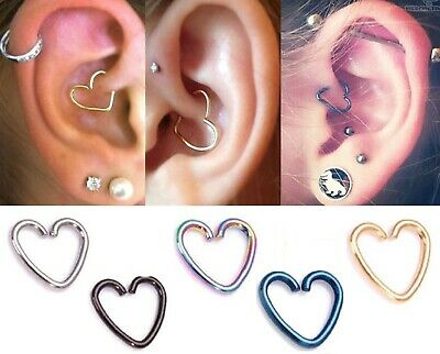 SurgicalSteel Heart Piercing Earring Helix Cartilage Ring Tragus Daith Ring Hoop