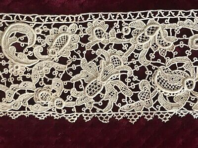 Extraordinary ANTIQUE NEEDLE LACE INSERTION 1.50 YARD+ by 3 3/4""